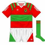 1994: For the Connacht final between Mayo and Leitrim, both sides changed. Mayo's jersey was a reversal of the usual outfit, though no sponsor's logo appeared.