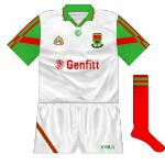 1995: Mayo advanced to the All-Ireland U21 football final, where they met Kerry. This white jersey was worn in the first, drawn, game and in the replay too with Kerry wearing green and gold again.
