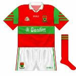 1997: Another provincial meting with Leitrim resulted in a change. Mayo donned a red version of the new O'Neills strip, the green and red switching though the collar was the same.