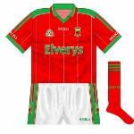 2006: As was becoming the norm, the Mayo change shirt was a reversal of the green jersey but without the hoop. Worn against London in the 2006 Connacht championship.