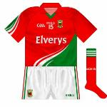 2012-14: Mirroring the fairly radical changes to the main shirt, this was mainly used against Kerry - most notably in the drawn 2014 All-Ireland semi-final and replay.